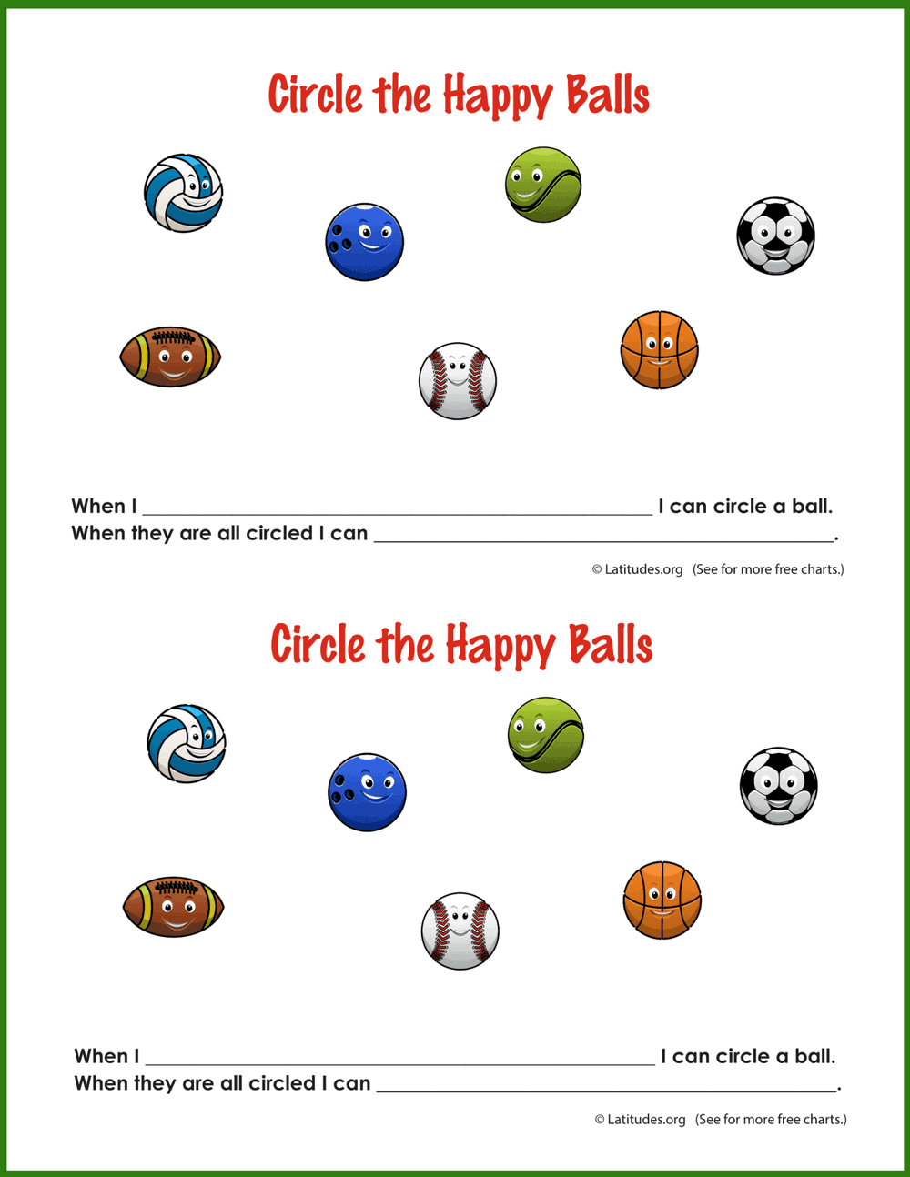 Circle Happy Balls Behavior Chart