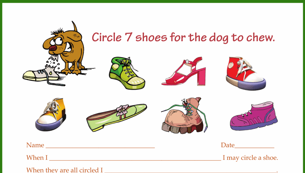 Circle the Shoes for Dog Behavior Chart