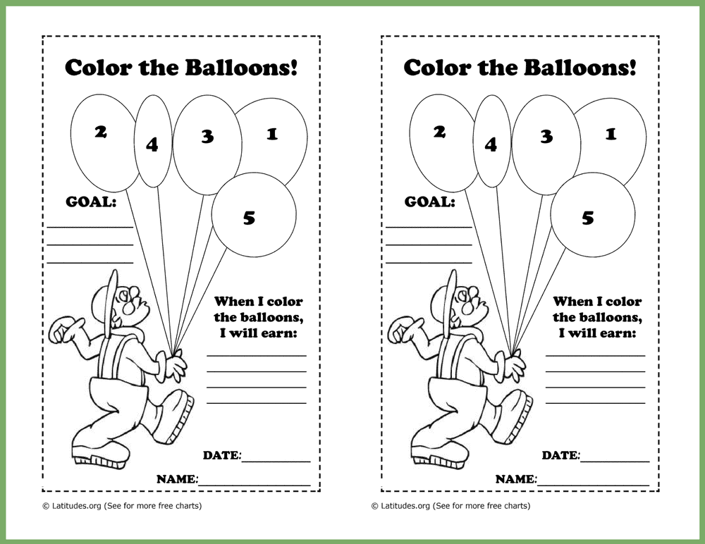 Color the Balloons Behavior Chart