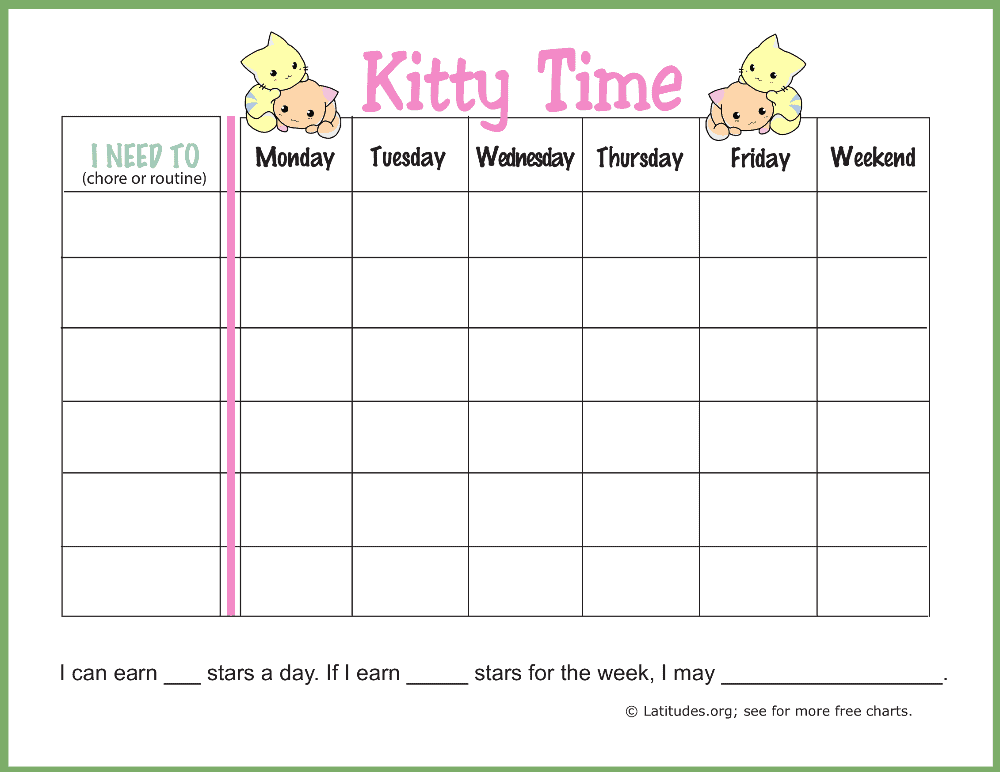 Kitty Time Routine Chore Chart