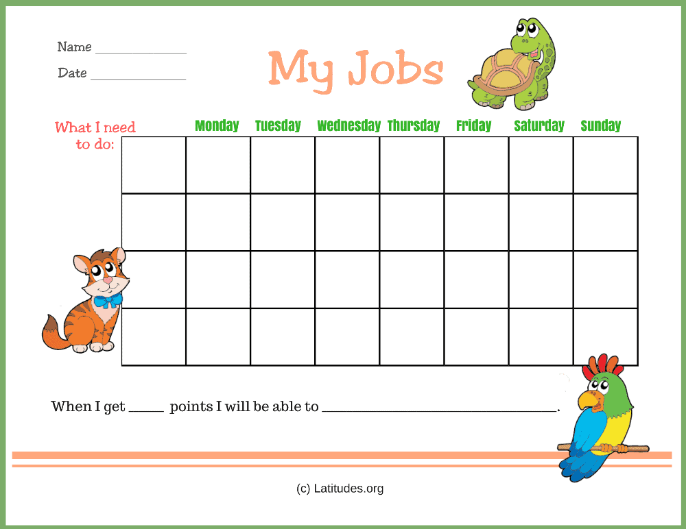 My Jobs Primary Chore Chart