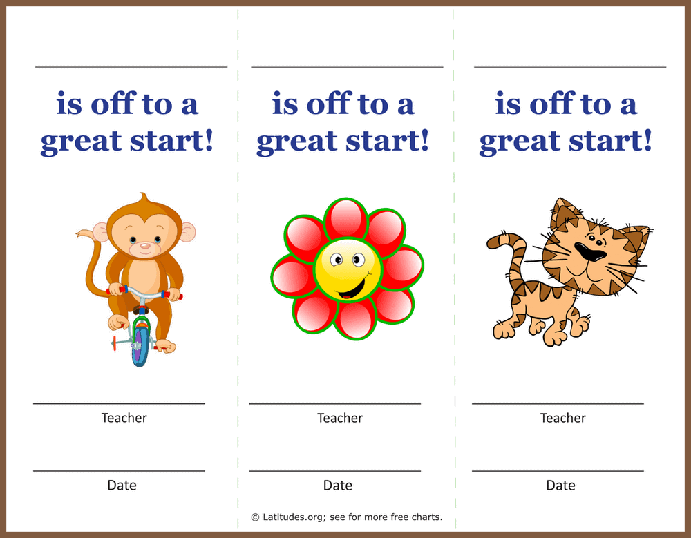 Off to a Great Start Behavior Award Coupons