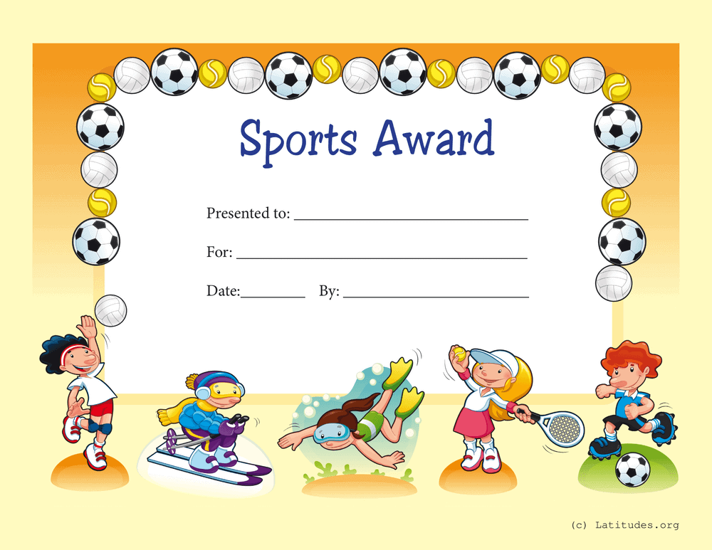 Primary Sports Award Certificate