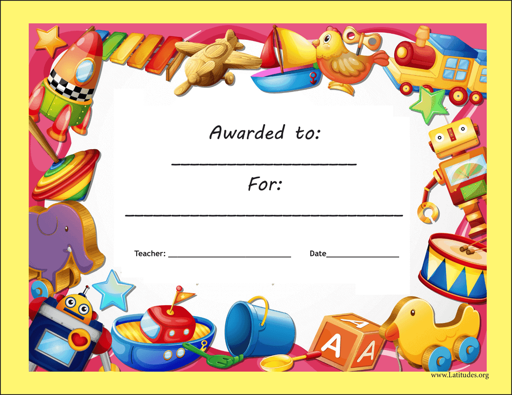 Primary Toy Award Certificate