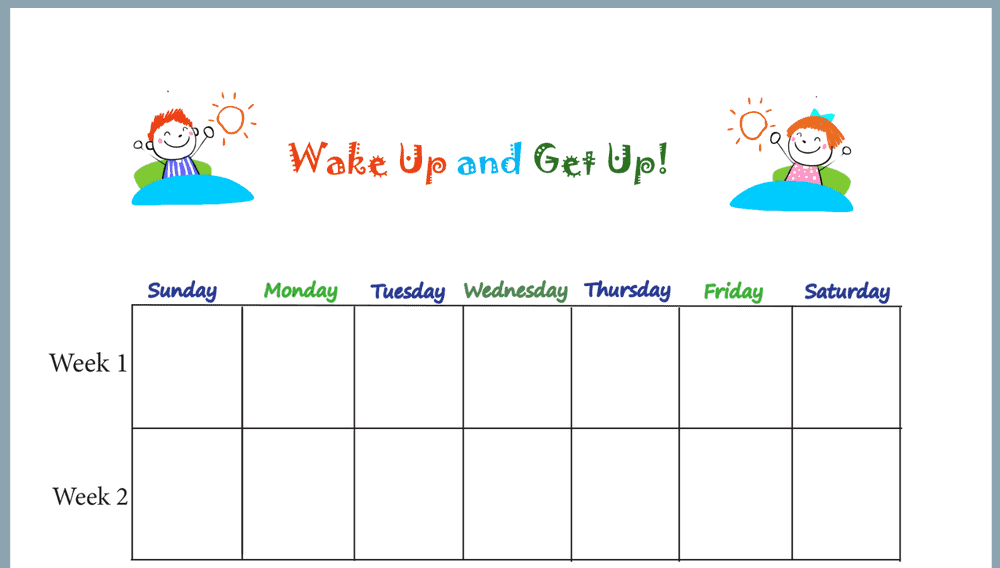 Primary Wake Up and Get Up Weekly Behavior Chart