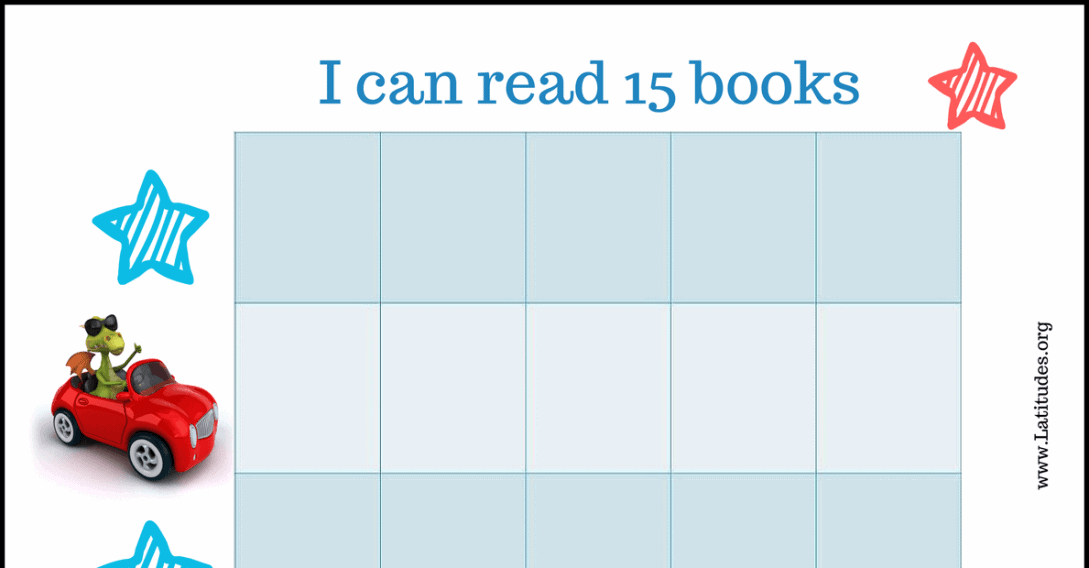 Read 15 Books Car Reading Chart