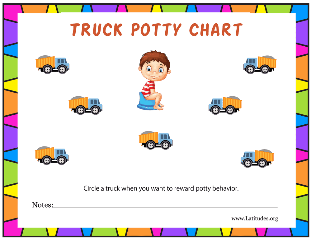 Boys Truck Potty Training Chart (Fillable)