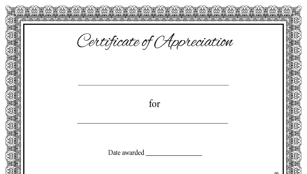 Certificate of Appreciation Formal Classic (Fillable)