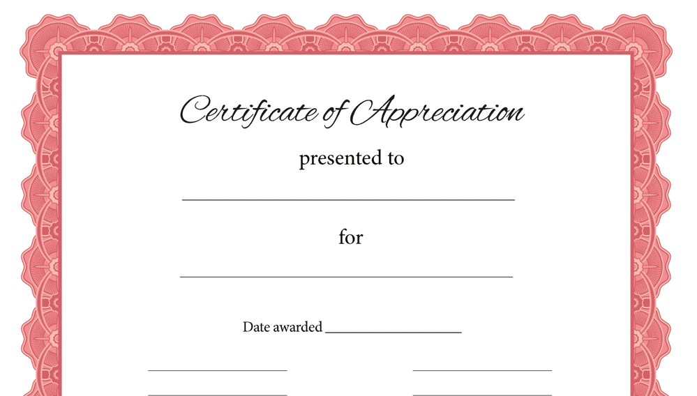 Certificate of Appreciation Rose Frame (Fillable)