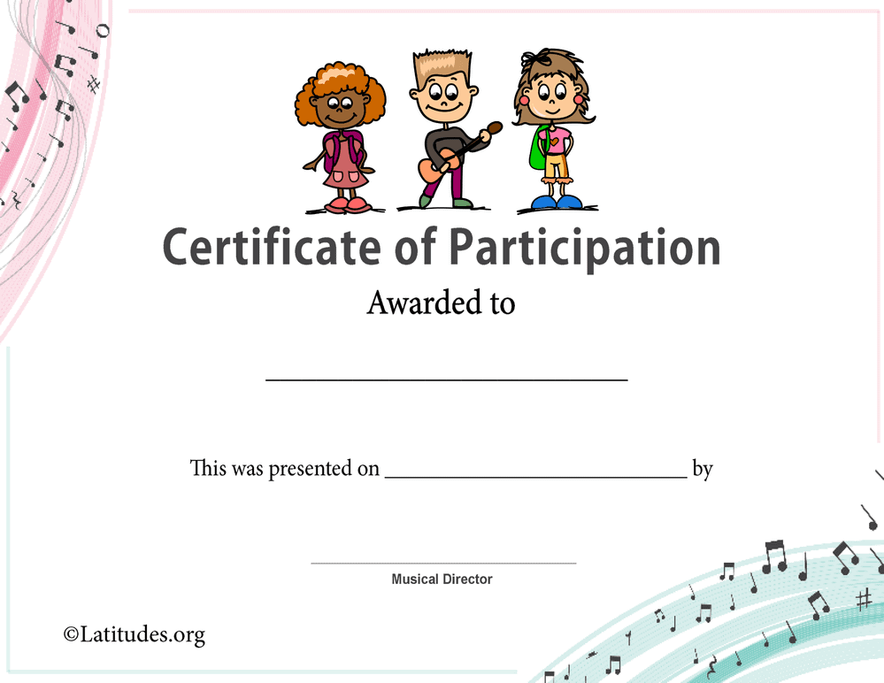 Certificate of Participation in Music 3 Kids (Fillable)