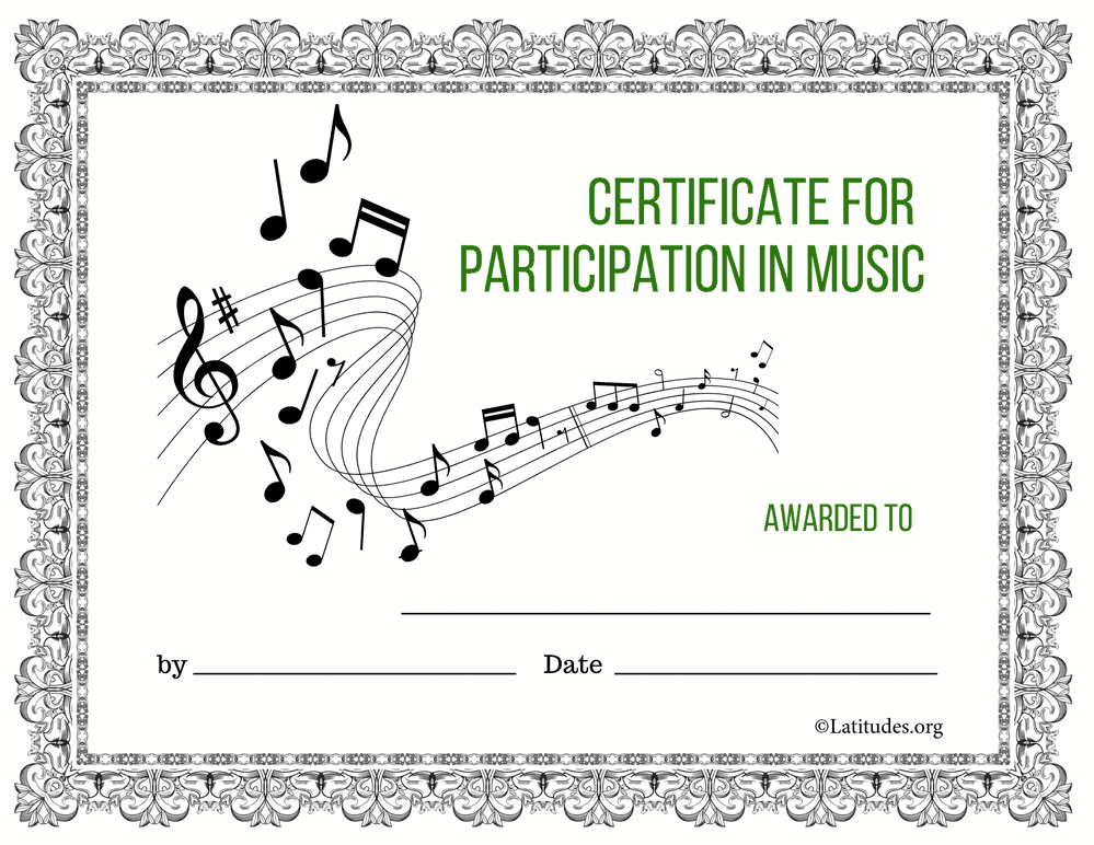 Classic Certificate for Participation in Music (Fillable)