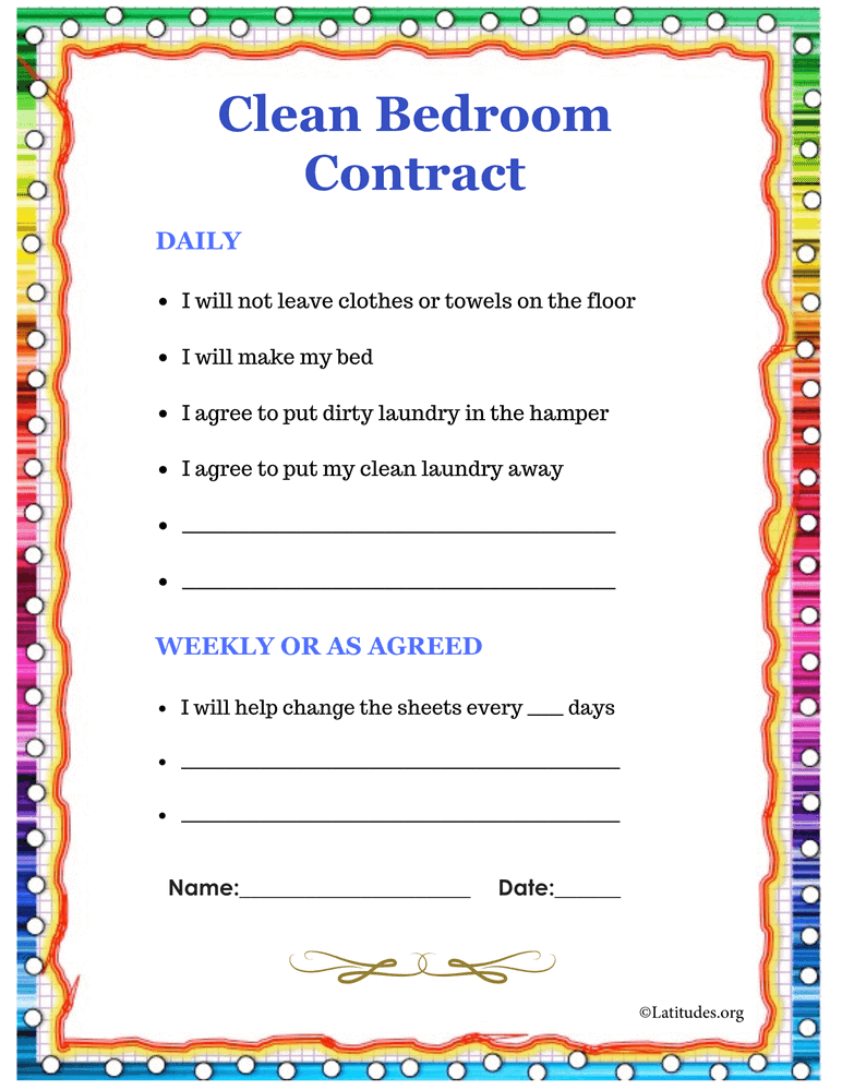 Clean Bedroom Contract Colorful Intermediate (Fillable)