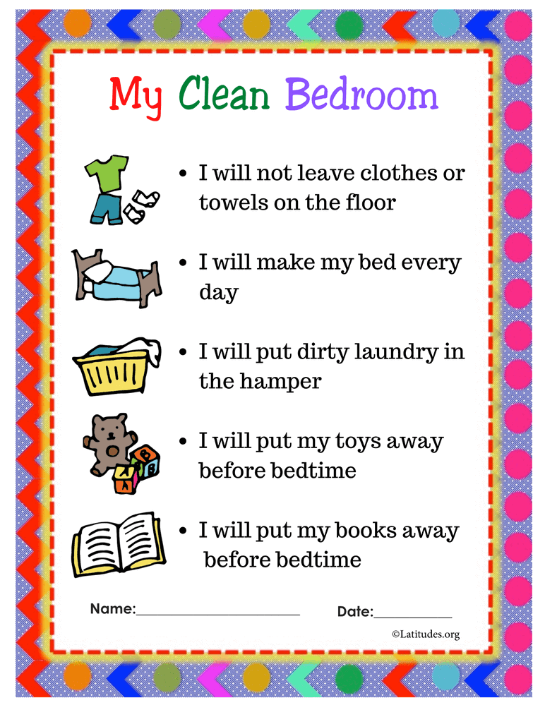 Clean Bedroom Contract PreK Primary