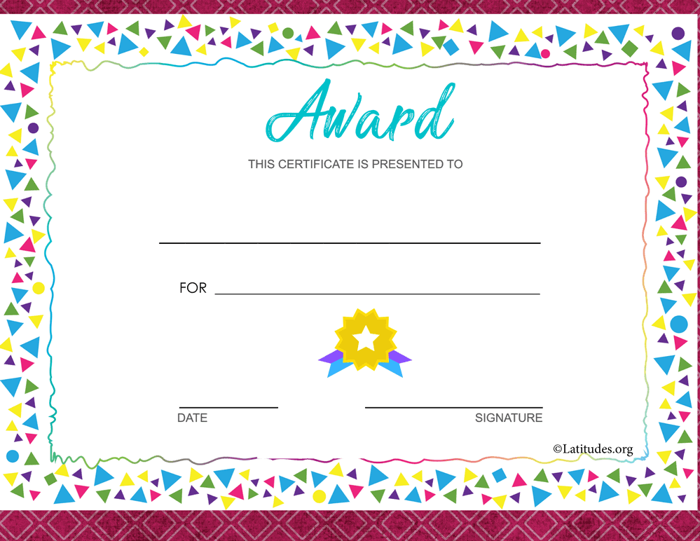 Colorful Border Award Certificate (Fillable)
