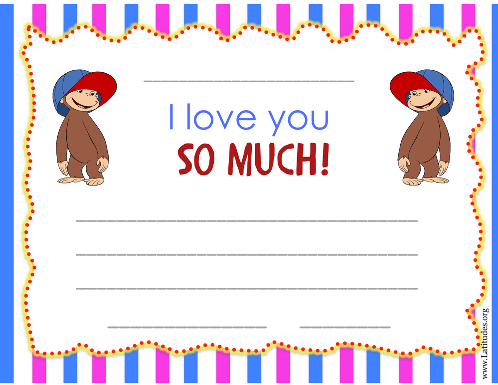 Curious George I Love You So Much Certificate (Fillable)