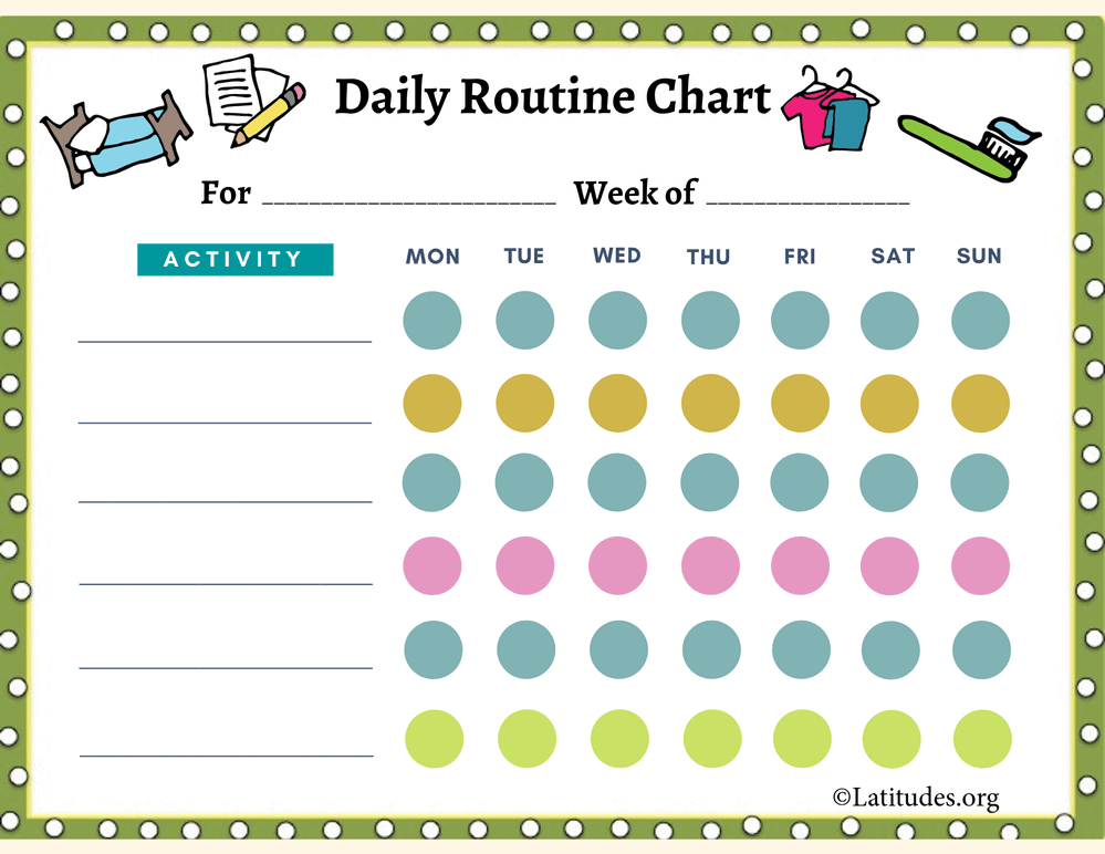 Daily Routine Chart 6 to 9 Years (Fillable)