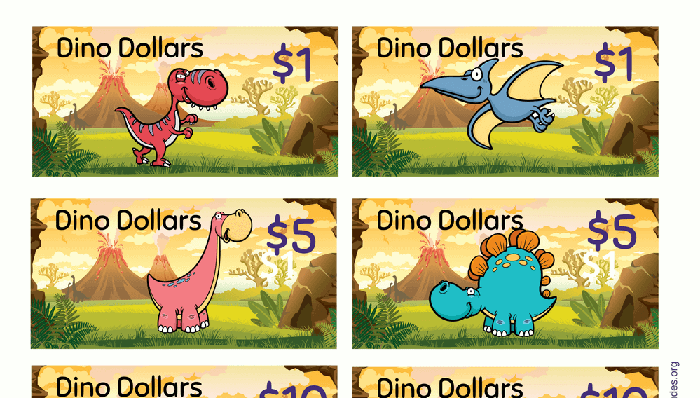 Dino Dollars Play Money