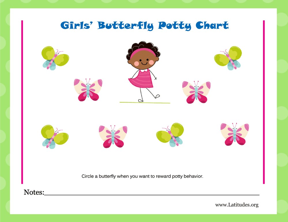 Girls Butterfly Potty Training Chart (Fillable)