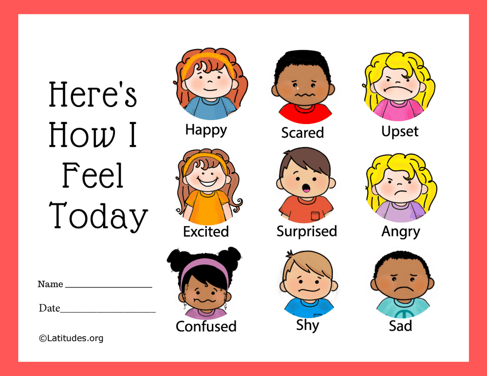 Heres How I Feel Today 9 Faces Feelings Chart (Fillable)