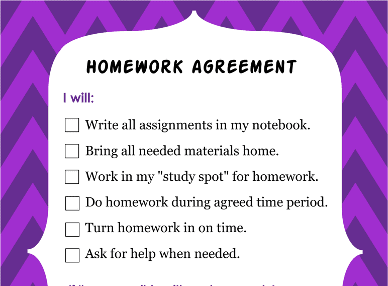 Homework Agreement (Fillable)