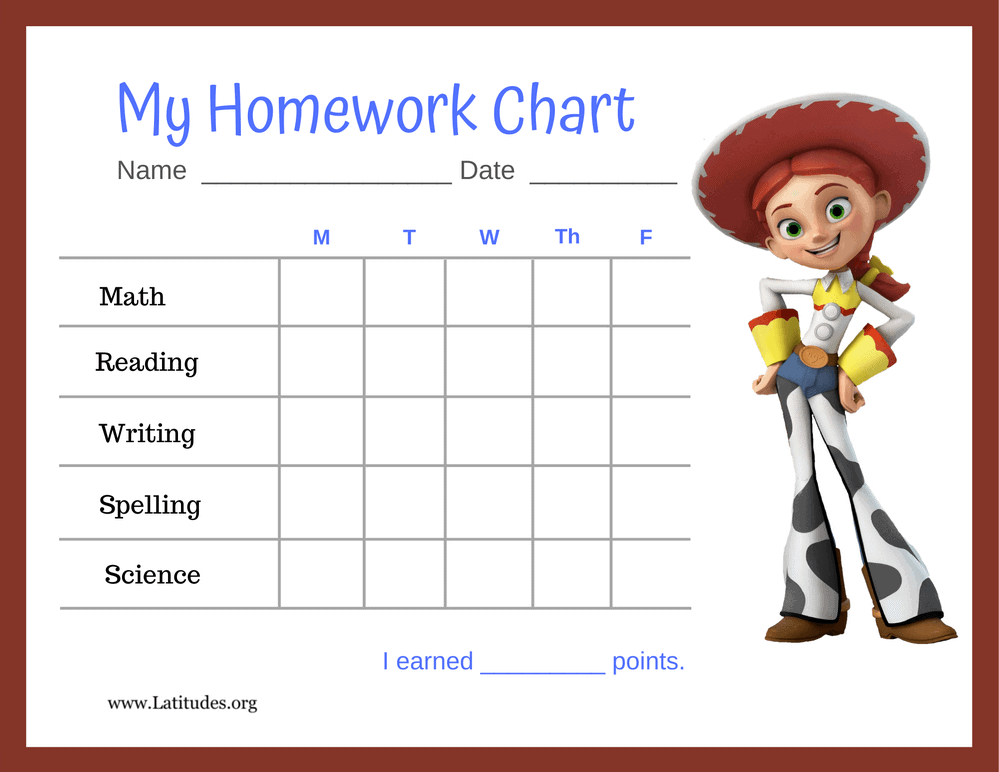 Jessie Toy Story 5-Day Homework Completion Chart (Fillable)