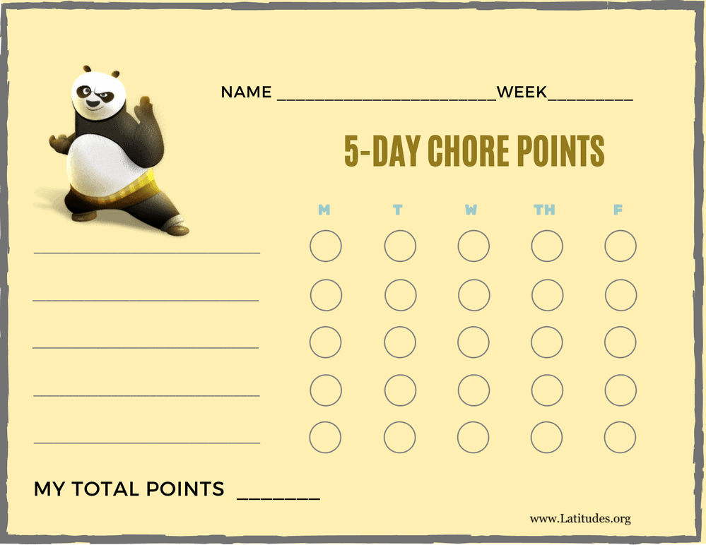 Kung Fu Panda 5-Day Points Chore Chart (Fillable)