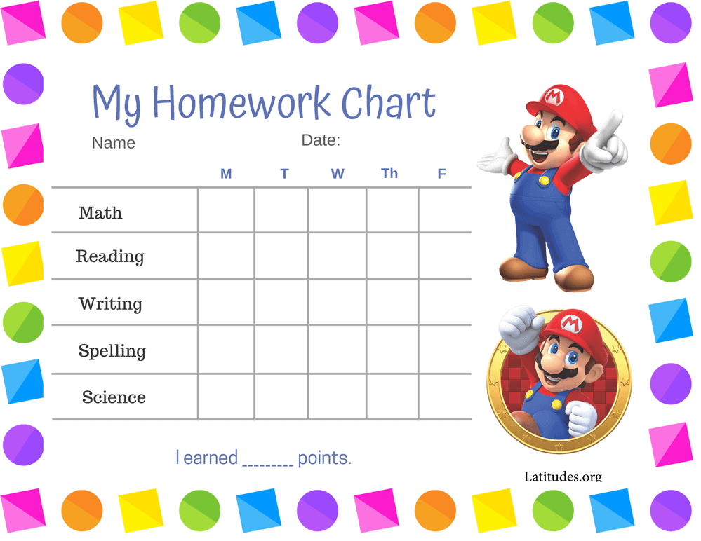 Mario Homework Completion Chart (Fillable)