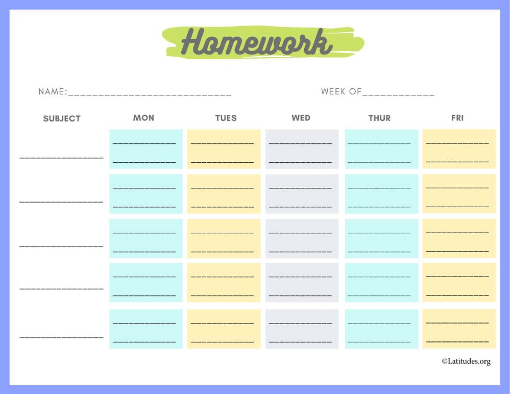 Monday to Friday Homework Chart (Fillable)