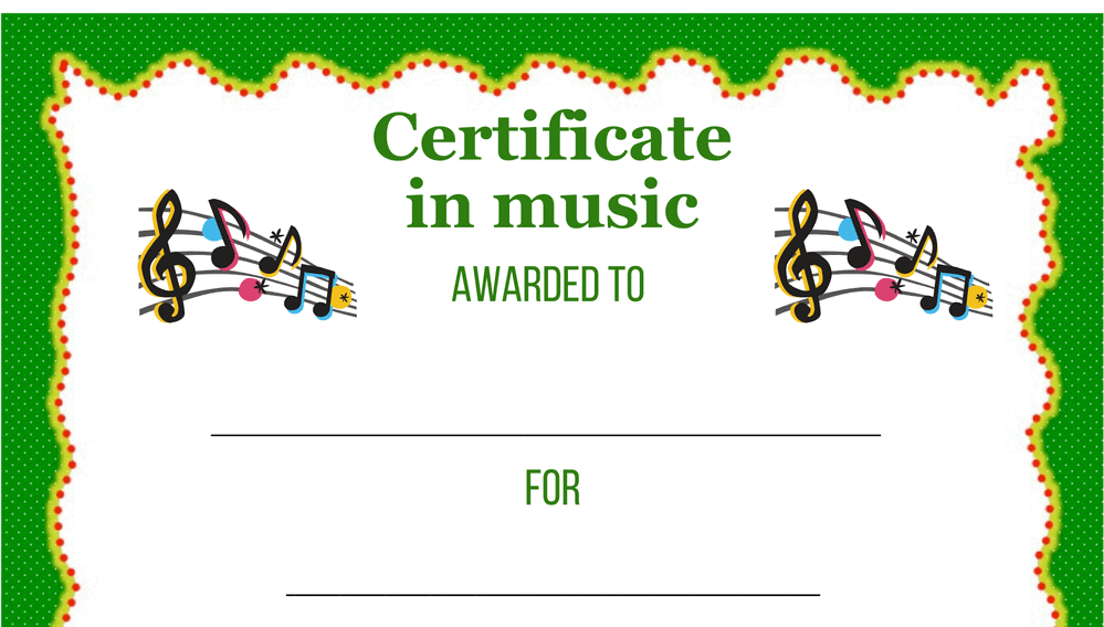 Music Certificate Award (Fillable)