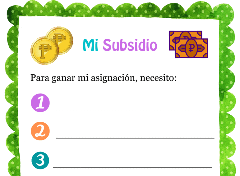 My Allowance Contract Primary Mexico (Fillable)