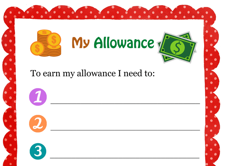 My Allowance Contract Primary USA (Fillable)