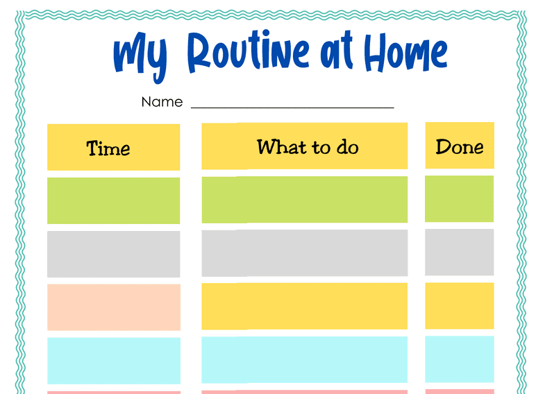 My Routine at Home Blank (Fillable)