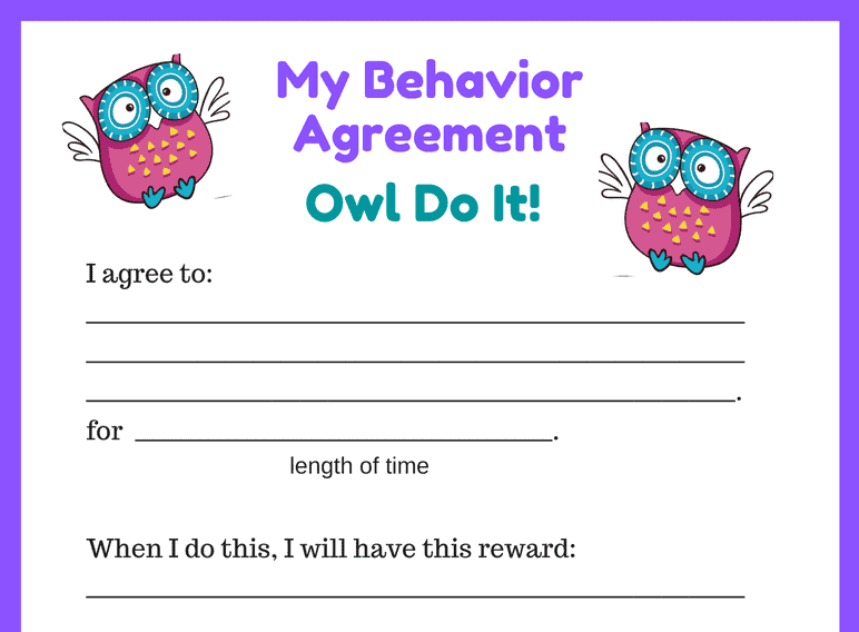 Owl Behavior Contract Agreement (Fillable)