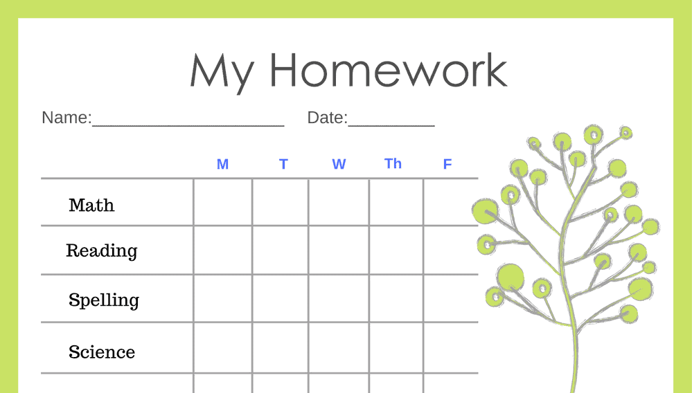 Primary 5-Day Homework Completion Chart