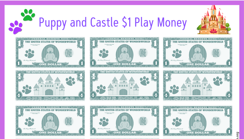 Puppies and Castles Play Money