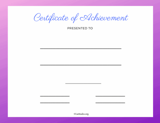 Purple Certificate of Achievement