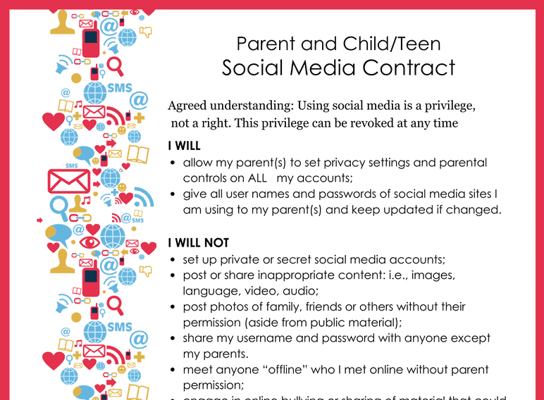 Social Media Contract for Parent and Teen (Fillable)