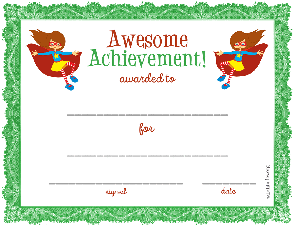 Super Girl Awesome Achivement Award (Fillable)