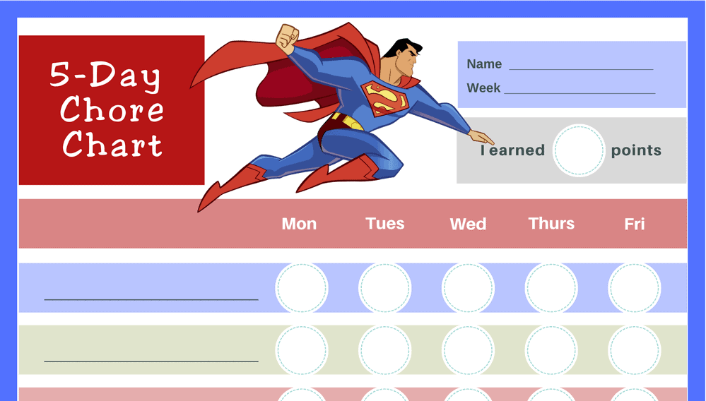 Superman 5-Day Chore Chart (Fillable)