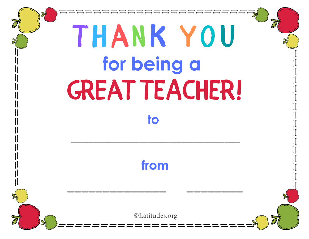 Thank You for Being a Great Teacher Award
