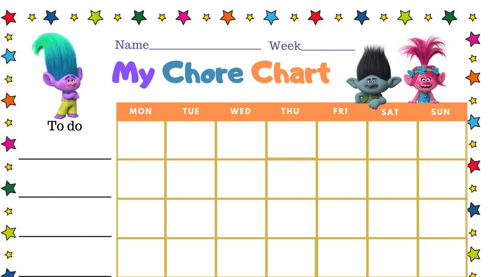 Trolls Weekly Sticker Chore Chart (Fillable)