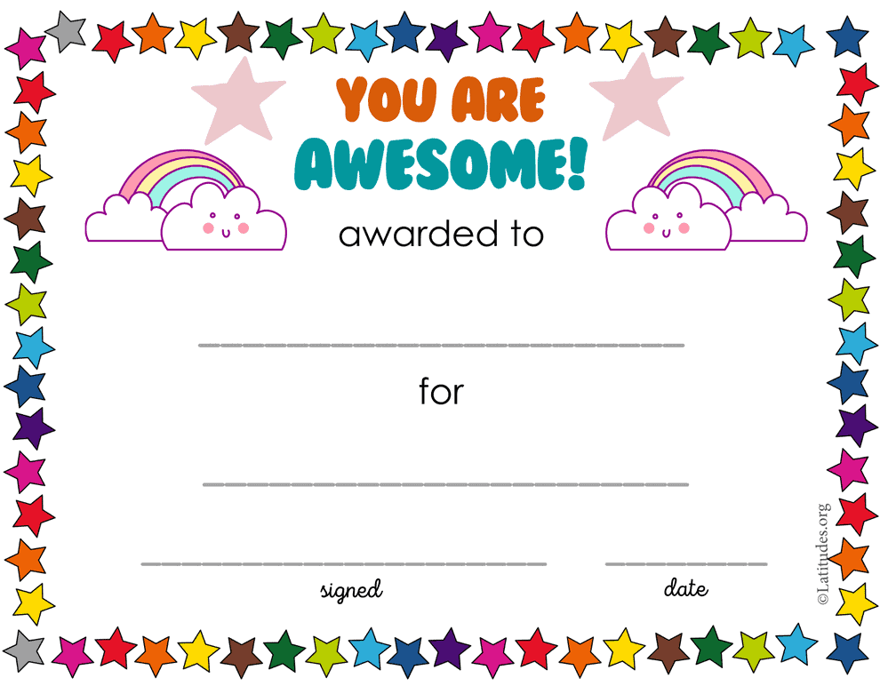You Are Awesome Rainbow Award (Fillable)