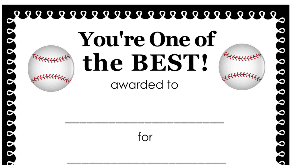 You're One of the Best Baseball Award (Fillable)
