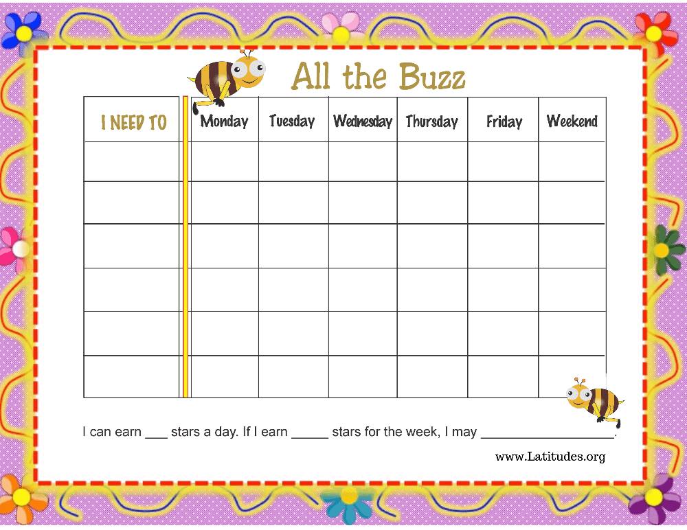 All the Buzz Weekly Behavior Chart (Fillable)