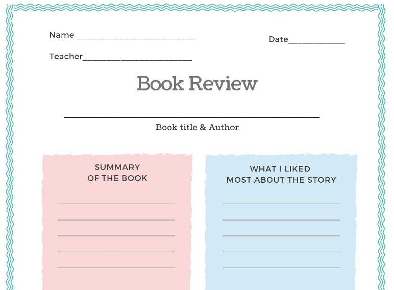 Book Review Report Form (Fillable)