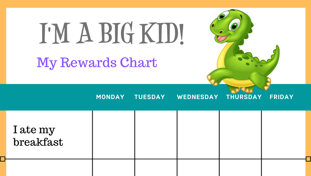 Dinosaur I'm a Big Kid Self-Care Reward Chart