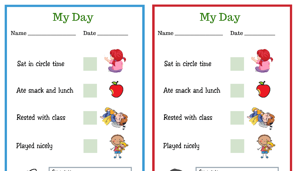 Duck and Penguin My Day PreK Daily Chart (Fillable)