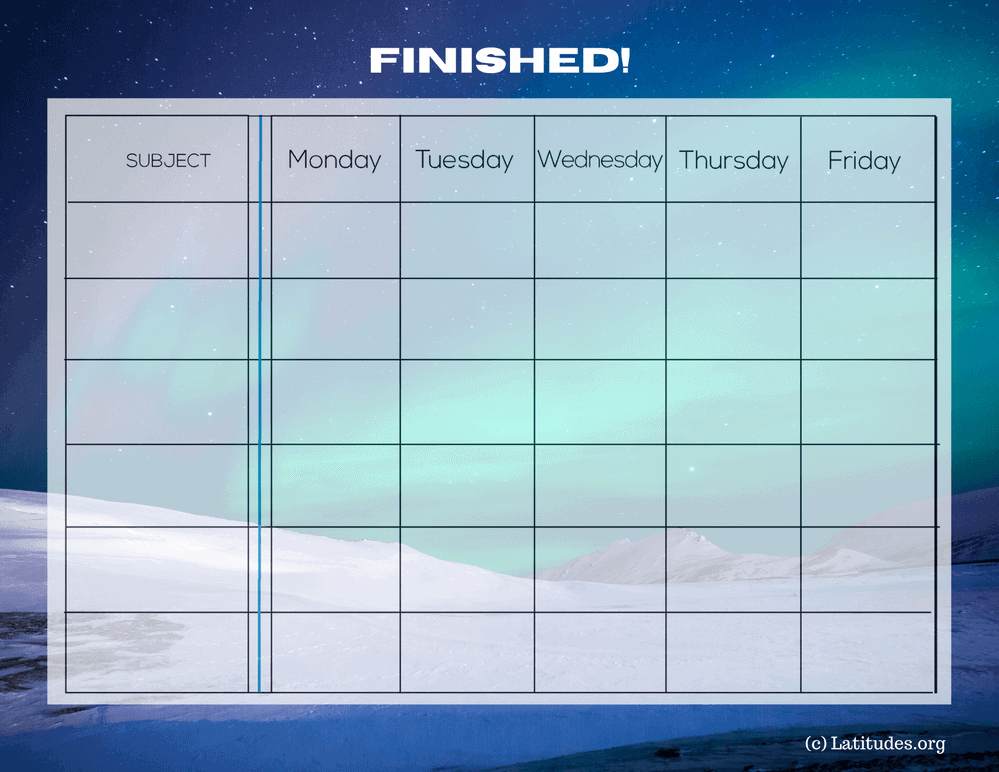 Finished Homework Completion Chart Intermediate (Fillable)