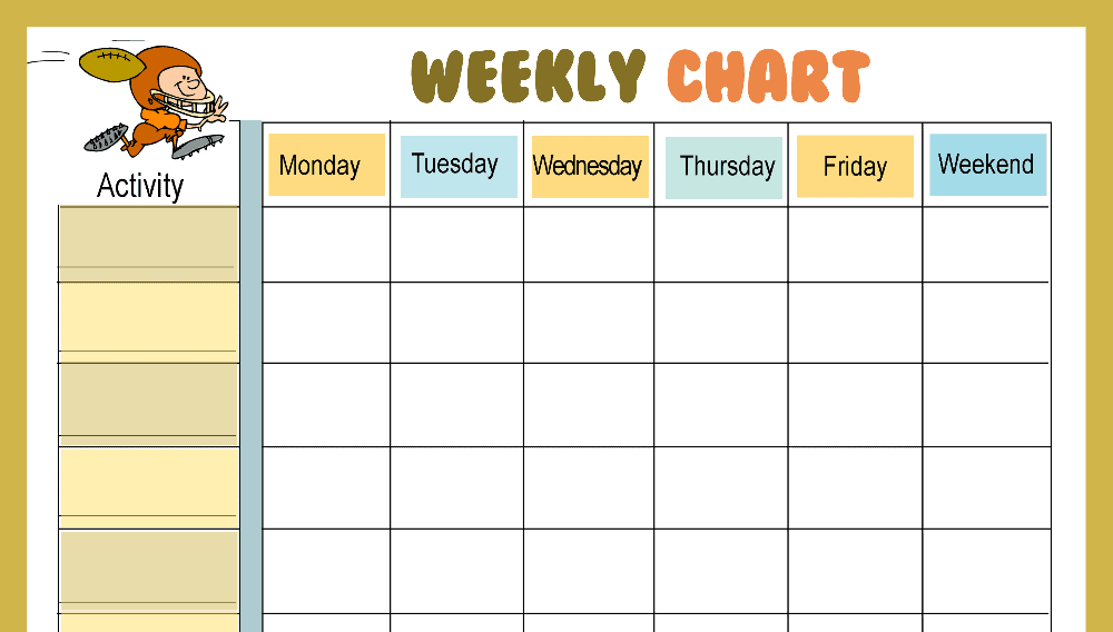 Football Weekly Behavior Chart (Fillable)
