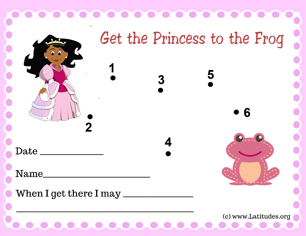 Get the Princess to the Frog Dot to Dot Toddler Reward Chart (Fillable)